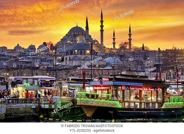 Fatih district with the Süleymaniye Mosque and the Eminönü square with traditional boats selling the traditional Balik Ekmek (a grilled fish sandwich), Istanbul