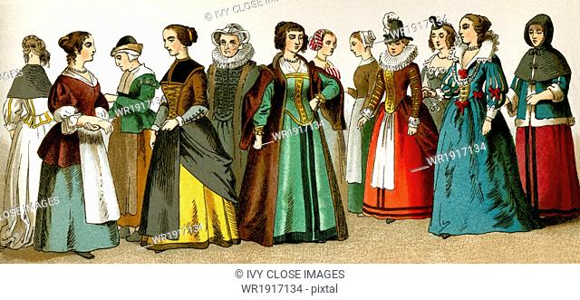 The figures represented here are women of various classes in the Netherlands in A.D. 1600. The illustrations dates to 1882