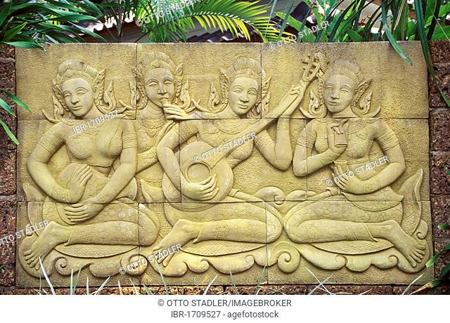 Terracotta relief, women making music, Koh Chang Island, Trat, Thailand, Southeast Asia