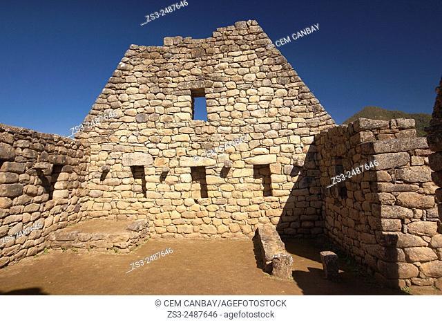 Ancient Inca wall at the sacred Inca site of Machu Picchu, Cuzco Region, Peru, South America