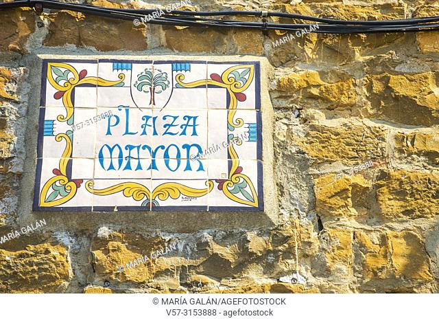 Ceramic plaque. Plaza Mayor, Ainsa, Huesca province, Aragon, Spain