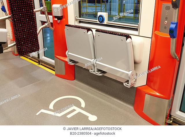 Handicapped zone. Interior of urban tram