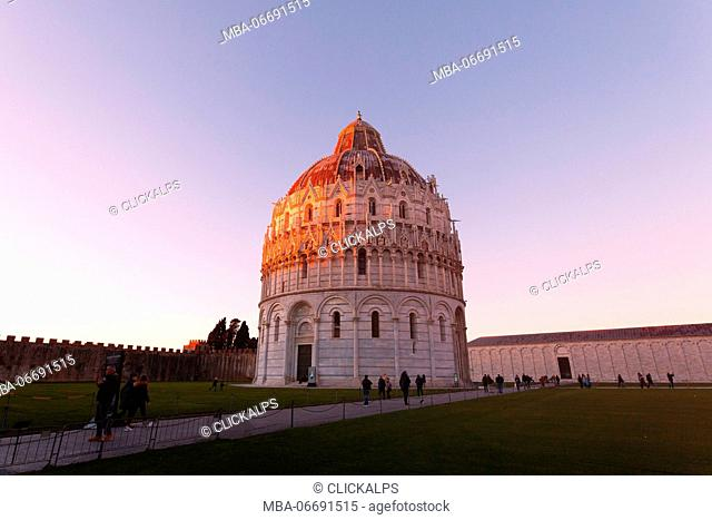 Europe,Italy,Tuscany,Pisa. Cathedral square at sunset