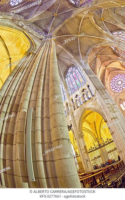 Cathedral of Santa María de la Regla of León, 13th Century Gothic Style, León, Castilla y León, Spain, Europe