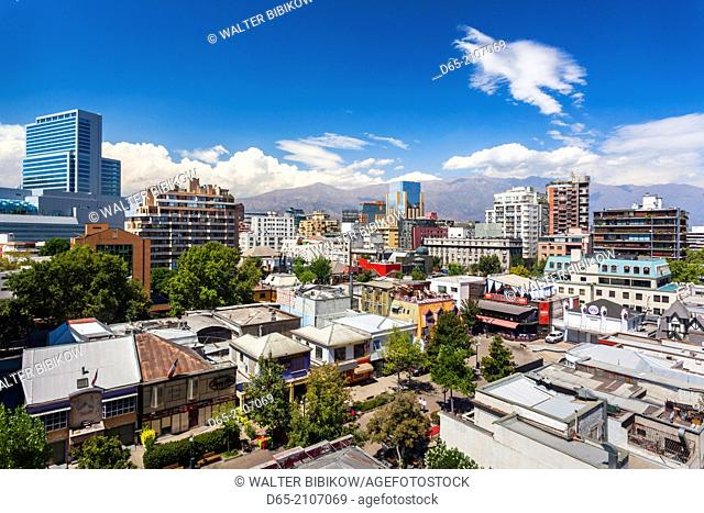Chile, Santiago, elevated city view of the Providencia area