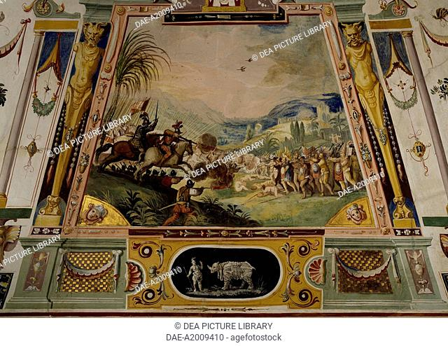The Spanish troops conquering Mexico and grotesques, fresco by Ludovico Buti (1560-1610). Vault of Room 21, Armory, Uffizi Palace, Florence