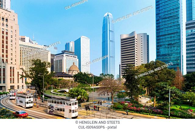 Central Hong Kong business district: Chater garden and skyline with IFC building, Hong Kong, China