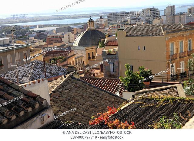 Cagliari from above, Sardinia island, Italy, Europe