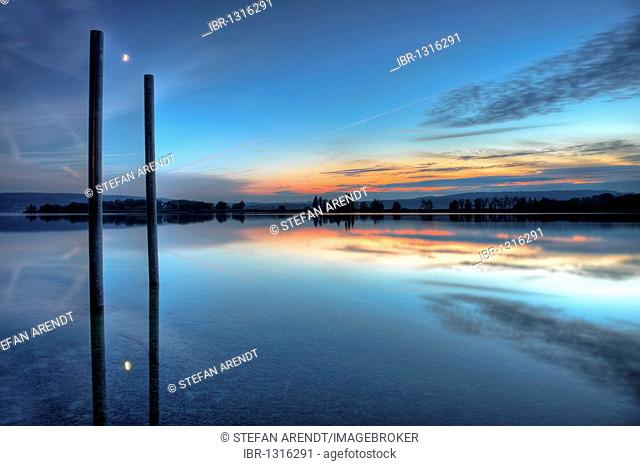 Evening mood with crescent moon at Markelfingen at Lake Constance, Baden-Wuerttemberg, Germany, Europe