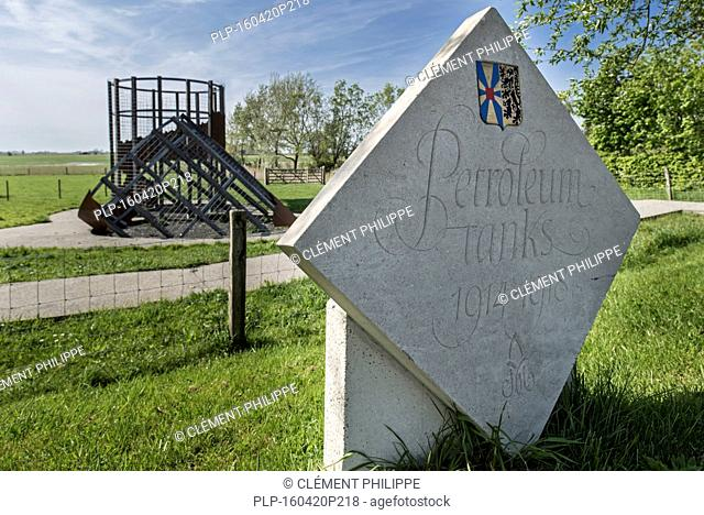 Albertina memorial in front of reconstruction of the Petrol Tanks close to the Dodengang / Boyau de la Mort / Trench of Death