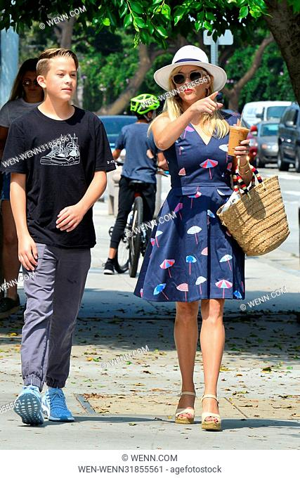 Reese Witherspoon out in Draper James Fashion while running errands with her son, Deacon Featuring: Reese Witherspoon, Deacon Phillippe Where: Beverly Hills