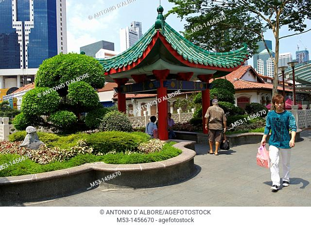 Formal garden and chinese style pagonda on an elevated walkway in Eu Tong Sen Street in chinatown district  Singapore