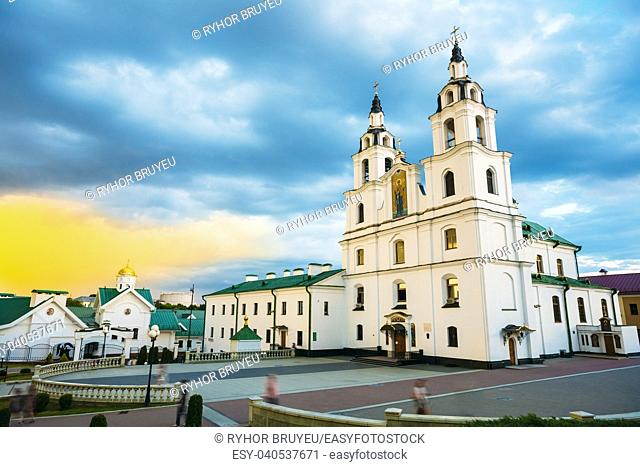 The Cathedral Of Holy Spirit In Minsk - The Famous Main Orthodox Church Of Belarus And Symbol Of Capital - Minsk
