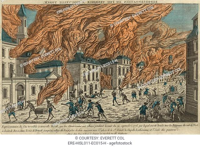 New York City fire of September 21-22, 1776, consumed 25 of the city's structures, was probably set by patriots after Washington's Continental Army retreated to...