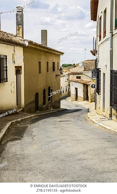 View of a empty street in Chinchon village, Madrid province, Spain