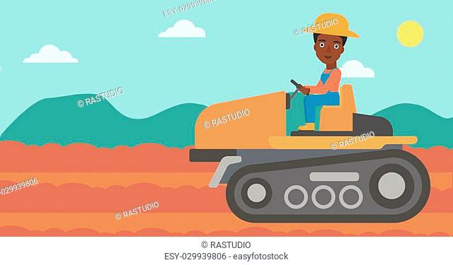 An african-american woman driving a tractor on a background of plowed agricultural field vector flat design illustration. Horizontal layout