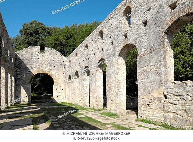Large Byzantine basilica, ruins of Butrint, Vlora, Albania