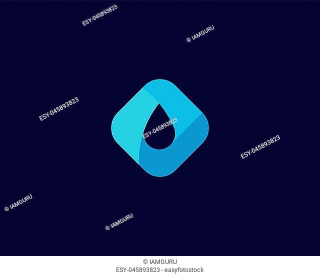 Abstract water aqua oil drop vector logo design template. Waterdrop negative space logotype