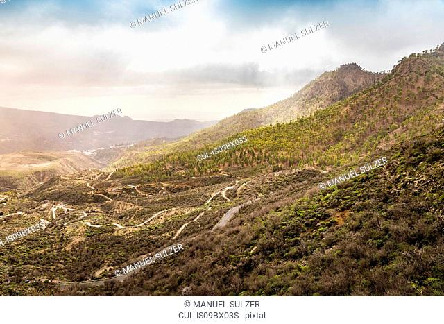 Mountainous landscape with rural roads, high angle view, San Bartolome de Tirajana, Canary Islands, Spain