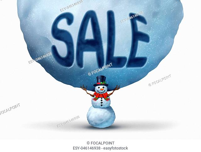 Winter sale icon with a snowman lifting up a giant snowball with text embosed in the snow as a retail marketing and promotion symbol to advertise a Chritmas...