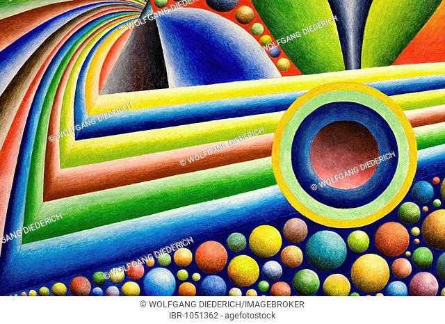 Acrylic painting, theme: colourful universe, by the artist Gerhard Kraus, Kriftel, Germany