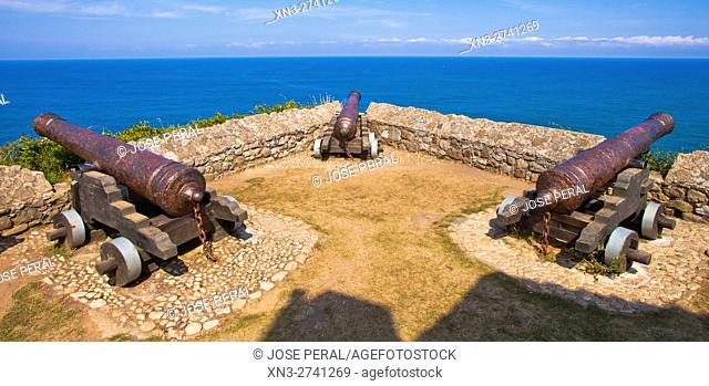 Cannons emplaced in the Chapel of Our Lady of Guide, This coastal battery served as protection for the port, Ribadesella city, Asturias, Spain, Europe