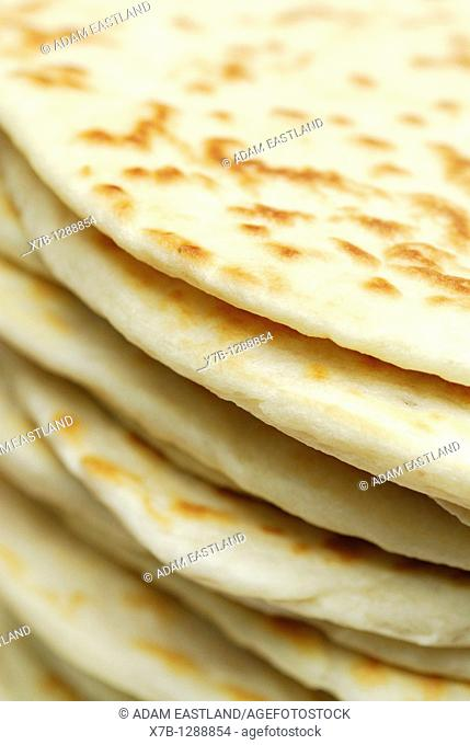 Ravenna Italy Stack of freshly made piadine, traditional flat bread from Emilia Romagna