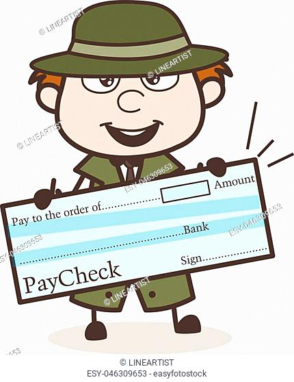 Cartoon Detective Showing a Cheque Vector Illustration