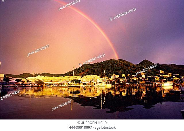 Carribean St. Martin, French West Indies, Marigot, Sint Maarten, rainbow