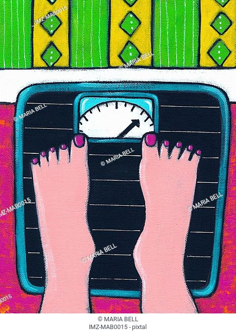 A close up of a womans feet standing on a scale