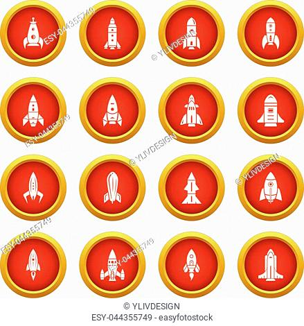 Rocket icons set. Simple illustration of 16 rocket vector icons for web
