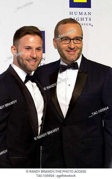 Chad Griffin HRC President & Charles Joughin on the red capet at the 2016 Human Rights Campaign National Dinner on September, 10, 2016 in Washington D