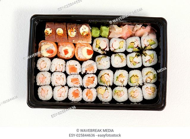 Set of assorted sushi kept in a black box