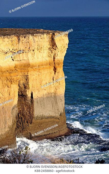 Coastal cliffs along the Great Ocean Road. Port Campbell National Park, Victoria, Australia