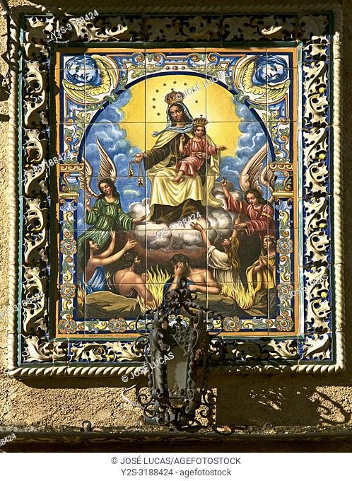 Church of San Marcos - tile. Alajar. Huelva province. Region of Andalusia. Spain. Europe