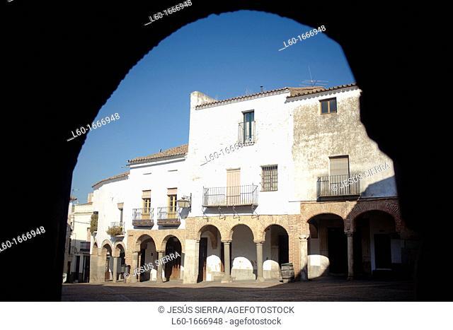 Plaza Chica at dusk, Zafra, Badajoz province, Extremadura, Spain