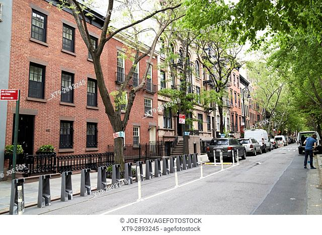empty citi bike station perry and bleeker street greenwich village New York City USA