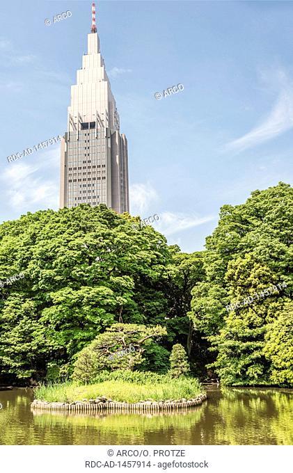 NTT Docomo Yoyogi Building behind Shinjuku Gyoen National Garden, Tokyo, Japan