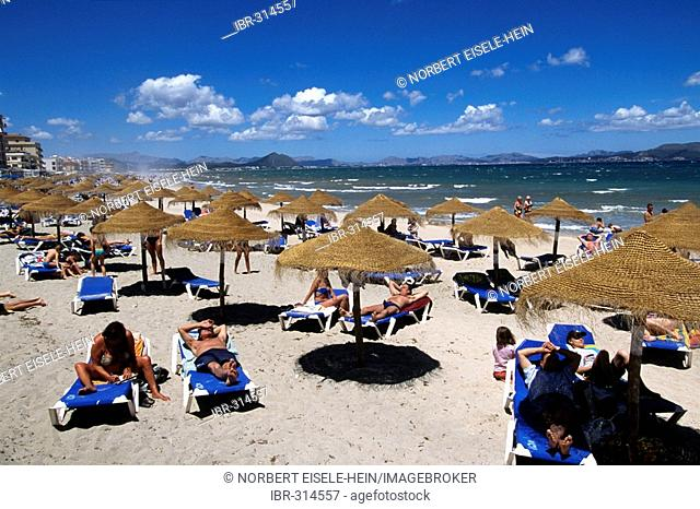 Beach, Alcudia Bay, Can Picanfort, Majorca, Spain