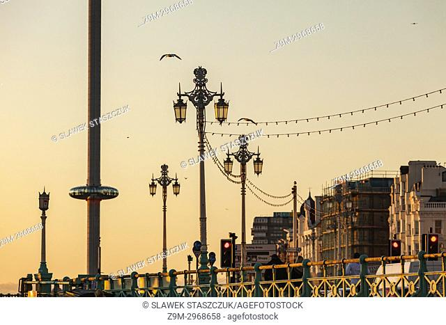 Brighton skyline at sunset, East Sussex, England