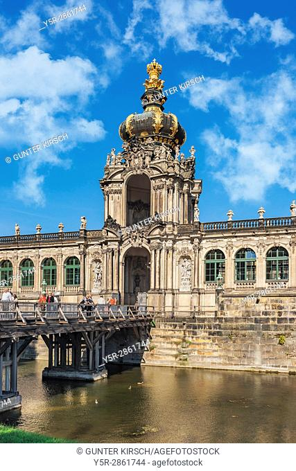 view over Zwinger moat to Crown Gate, Dresden, Saxony, Germany, Europe
