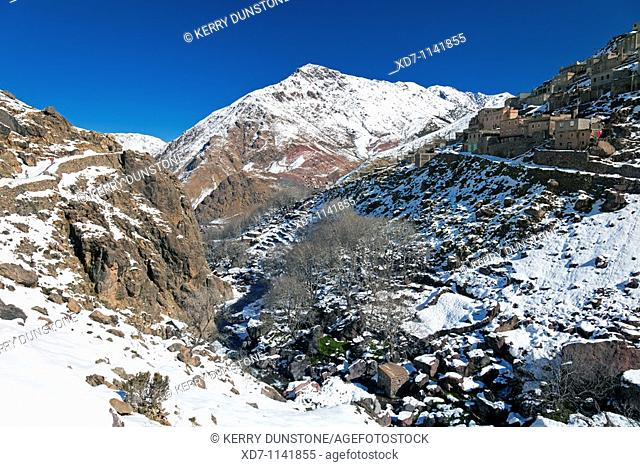 Morocco High Atlas Mountains Imlil Mountainous valley and village of Armed