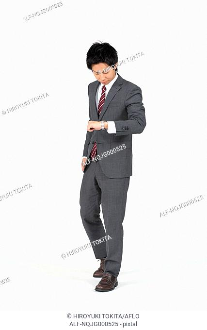 Japanese businessman on white background