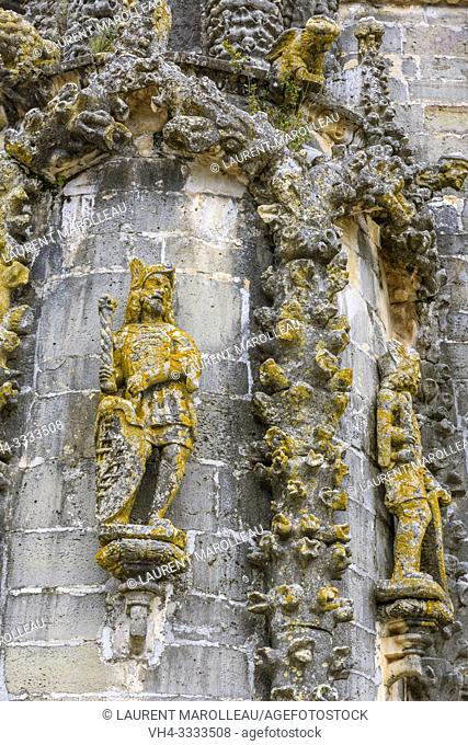 Statues, Gargoyles and Manueline motifs on the Nave of Convent of Christ, Tomar, Santarem District, Centro Region, Portugal, Europe
