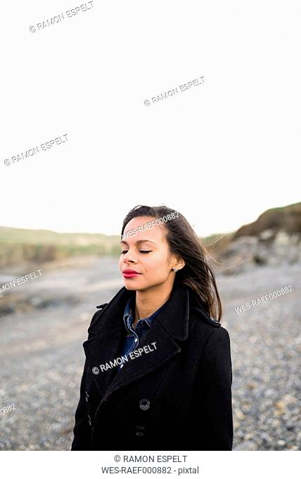 Spain, Ferrol, portrait of woman with closed eyes