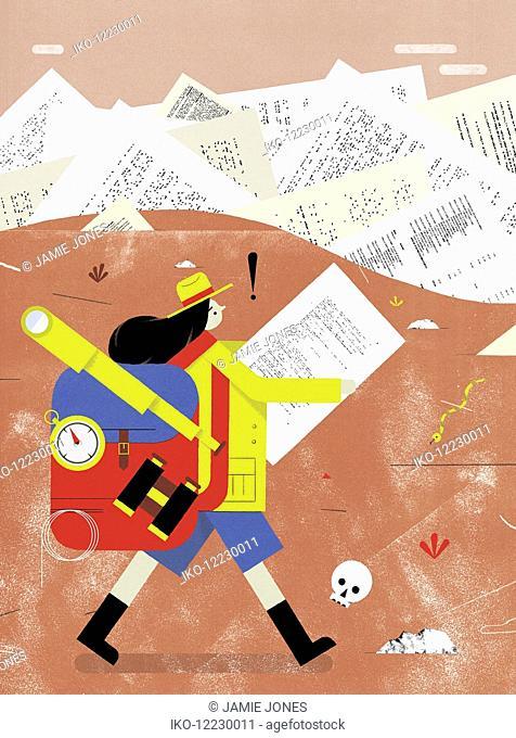 Woman hiker lost in barren landscape of paperwork