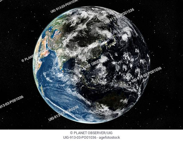 Globe Centred On Asia And Oceania, True Colour Satellite Image. True colour satellite image of the Earth centred on Asia and Oceania with cloud coverage