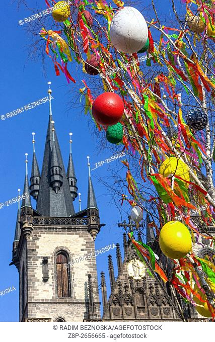 Easter tree decorated with colored eggs at the Old Town Square during the Easter markets, Prague, Czech Republic