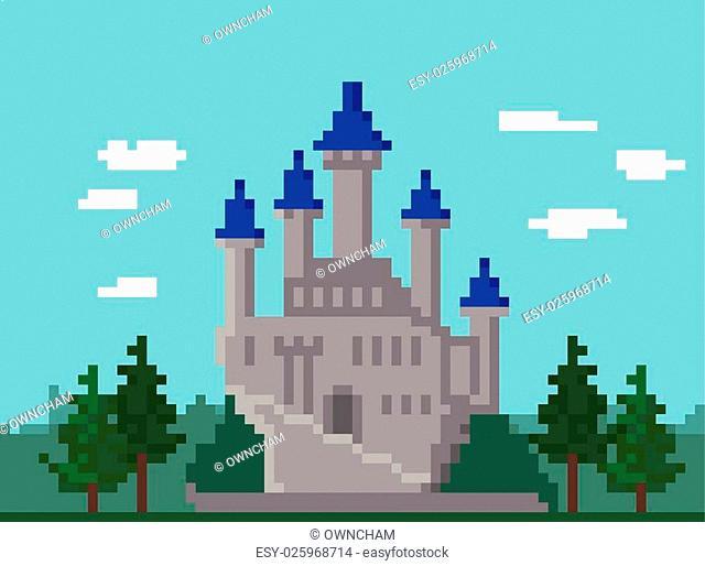 Pixel Landscape With Medieval Castle