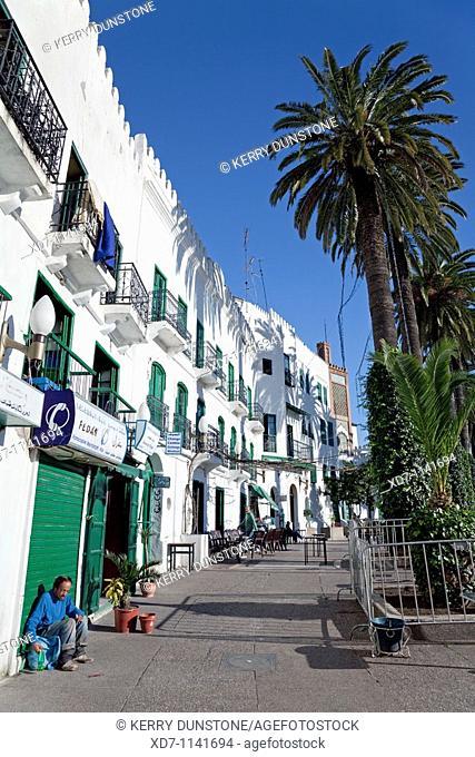 Morocco Rif Mountains Tetouan Place Hassan II Shops and tea salon